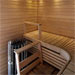 The light sauna space comes with a smooth electric sauna.